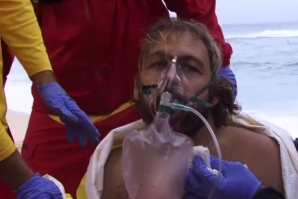 SURFER AND JOURNALIST GOT HIS THROAT CUT BY HIS BOARD