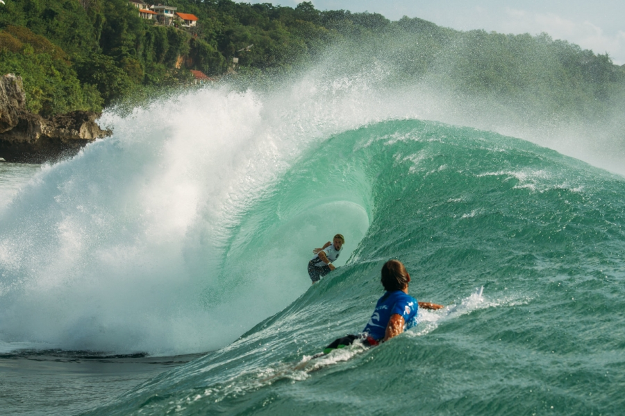 Rip Curl team rider Timothee Bisso (GLP) in the belly of the beast at the 2016 Rip Curl Cup Padang Padang. Credit: © WSL /  Lawrence