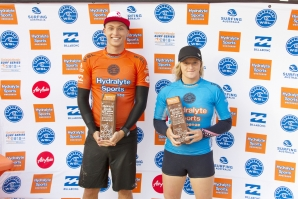 Caption: Kai Tandler and India Robinson have won the 2018 Hydralyte Sports Pro Junior on the Gold Coast today. Credit: © WSL / John Andrews