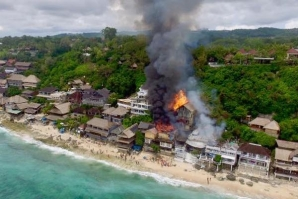 BINGIN BEACH AT BALI, WOKE UP THIS 4 APRIL WITH A BIG FIRE