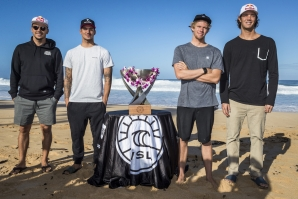 John John Florence (HAW) , Gabriel Medina (BRA) , Jordy Smith (ZAF) and Julian Wilson (AUS)  all contenders for the WSL World Tittle 2017 before the start of the  Billabong Pipe Masters at Pipeline, Oahu, Hawaii, USA. PHOTO: © WSL / Poulleno