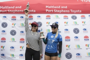 Caption: Johanne Daefay is chaired to victory at the Port Stephens Toyota NSW Pro Women's QS6,000. Credit: © WSL / Ethan Smith
