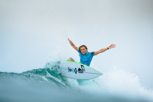 Caption: Third-year CT surfer Keely Andrew (AUS) upset the competition today by eliminating 6x WSL Champion Stephanie Gilmore (AUS) in the Quarterfinals of the Roxy Pro Gold Coast.  Caption: © WSL /  Sloane