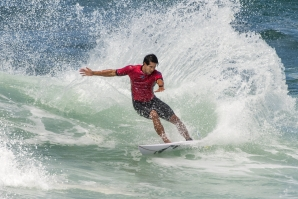Caption: 2017 Championship Tour Rookie of The Year Connor O'Leary (AUS) posted the highest heat total of the event so far on Day 3 of the Burton Automotive Pro. Credit: © WSL /  Tom Bennett