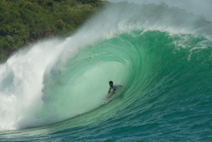 Mason Ho in the barrel at Padang Padang